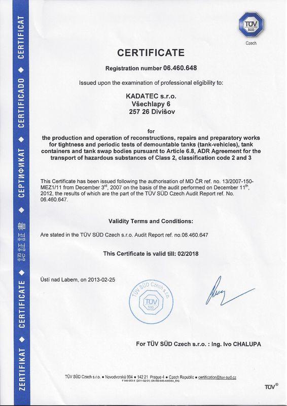 ADR certificate