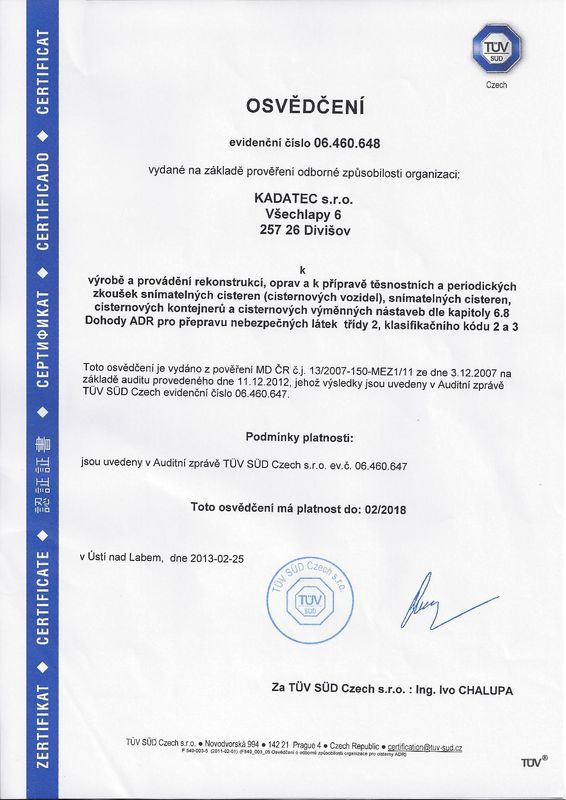 ADR certifikat